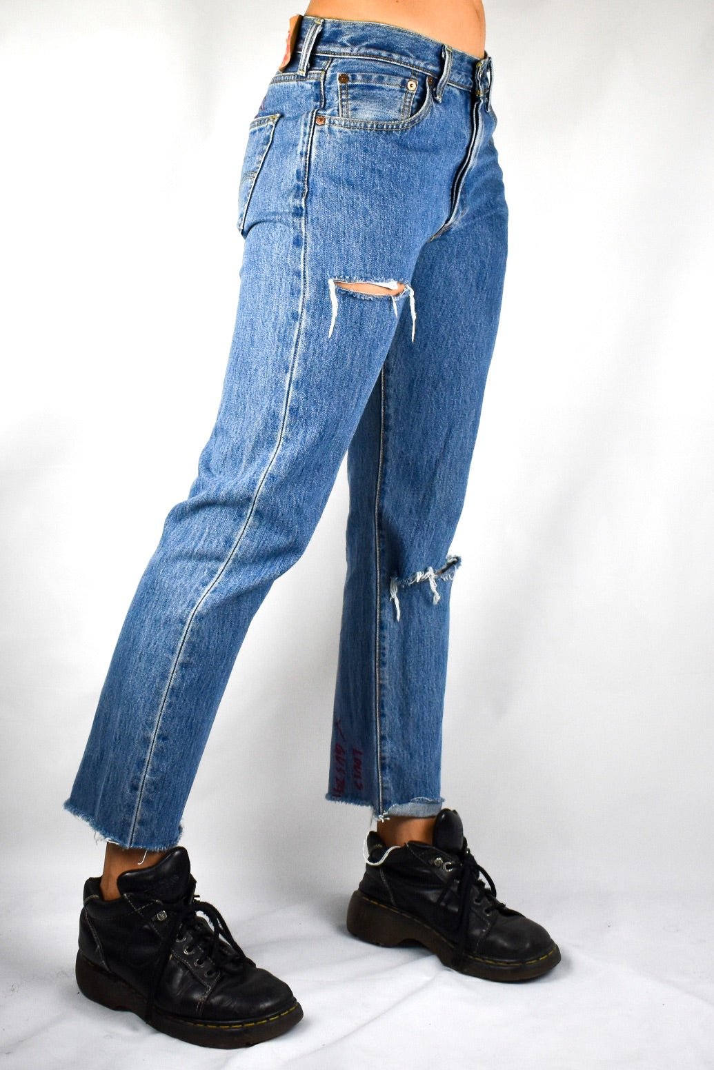 Low Rise Levis With Hand Drawn Details