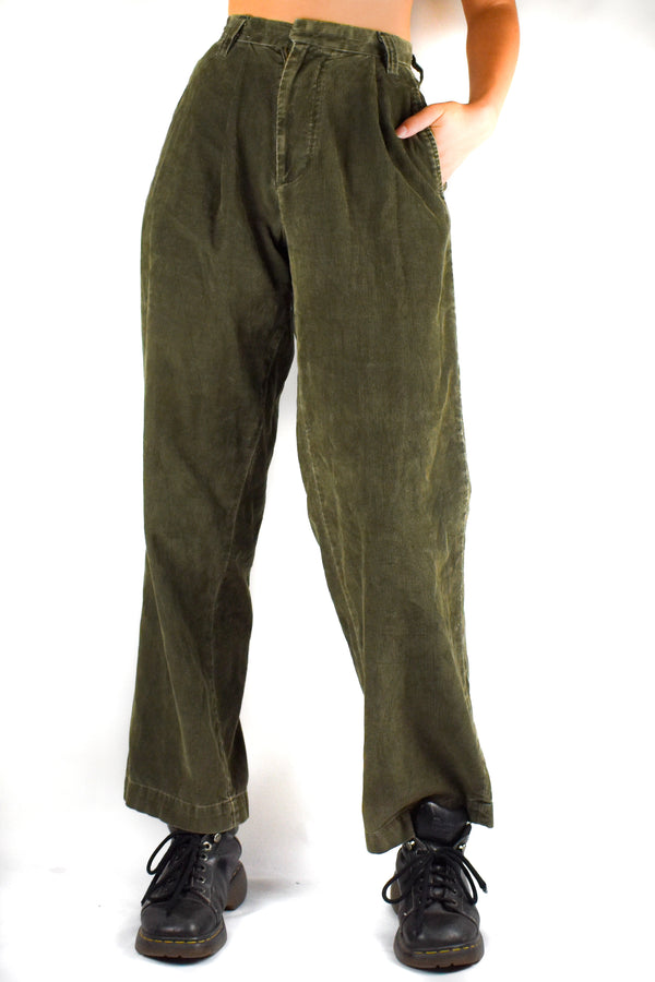 Moss Green High Waisted Corduroy Trousers