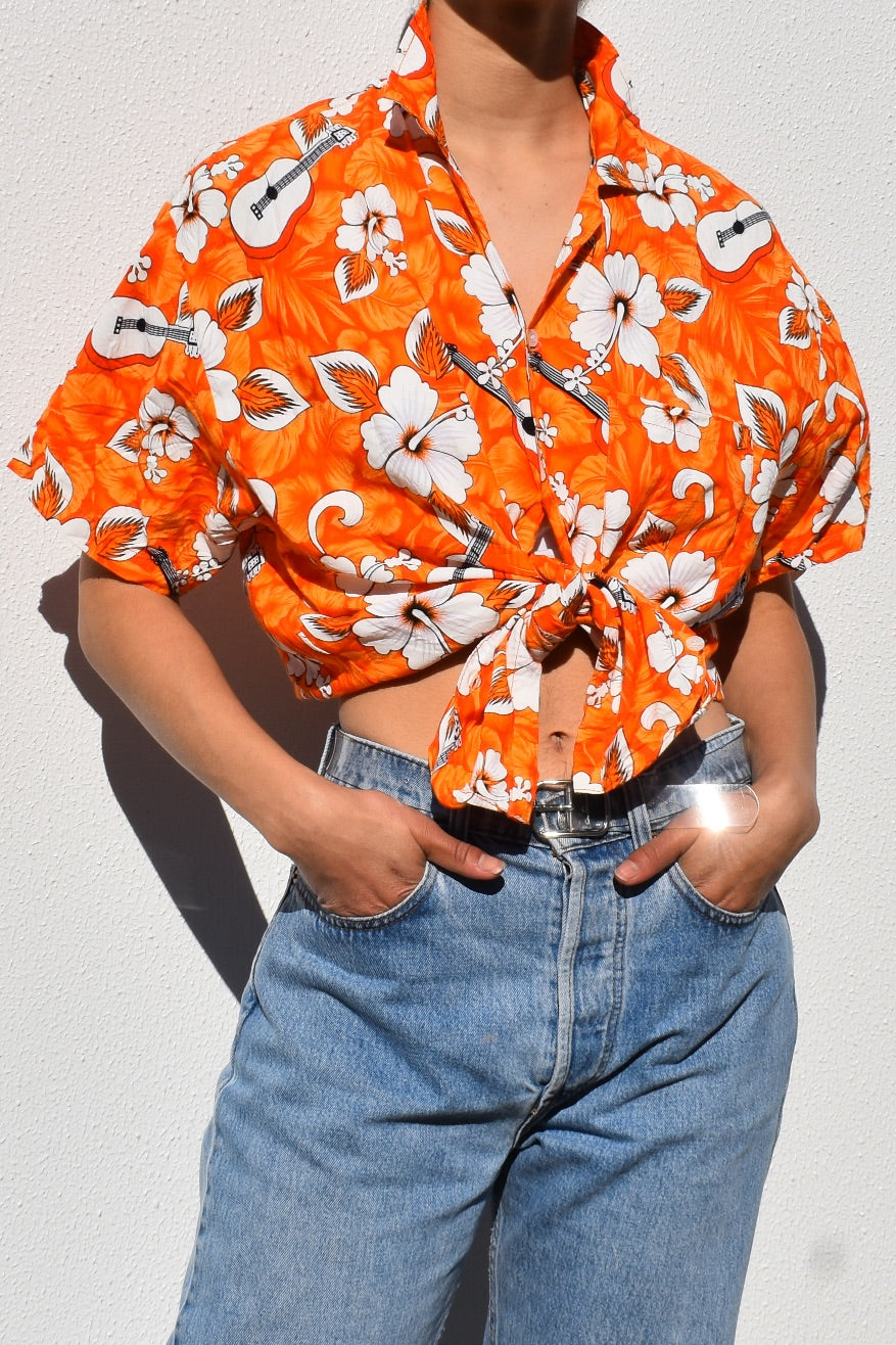 Orange Hawaiian Ukulele Blouse