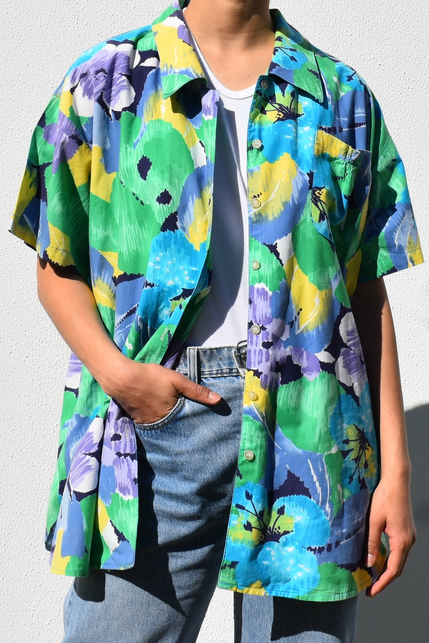 Abstract Floral Button Up