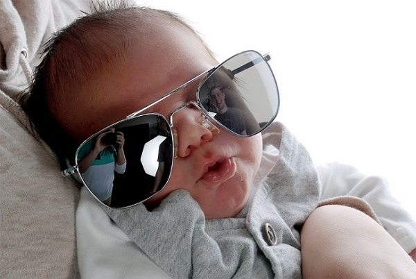 Maddox has already shown an affinity to his family's engineering legacy- here he is sporting his first pair of Randolph Aviators at only three weeks old!