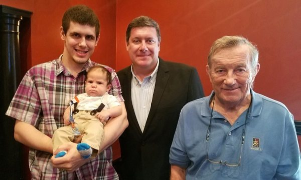 Four generations of the Zaleski family; (from left to right) Tim holding Maddox, Richard, and Stanley.