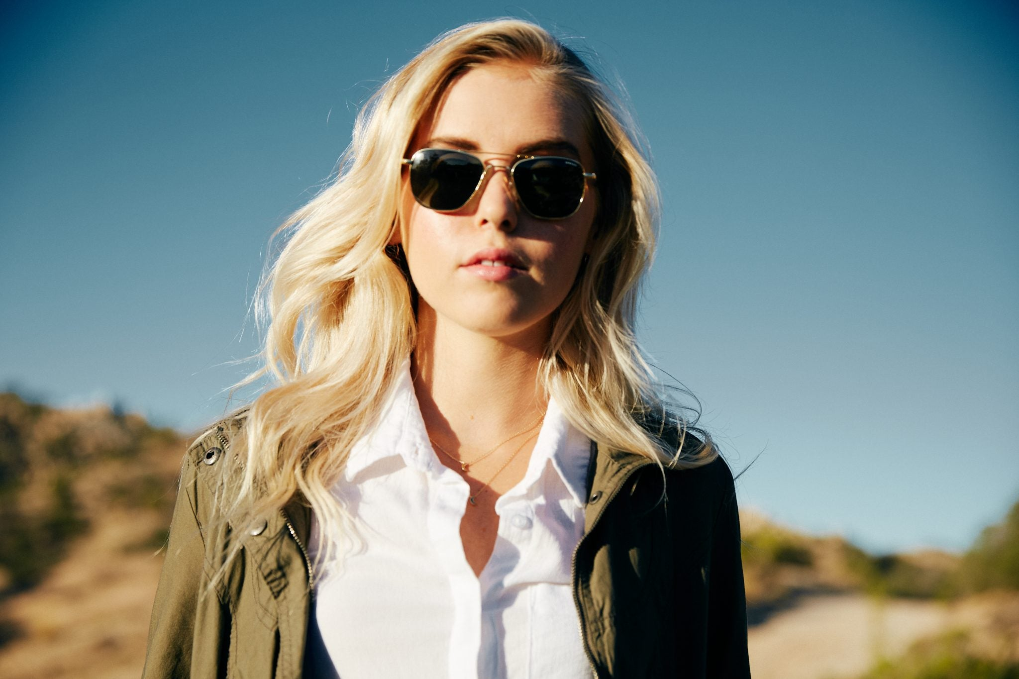 Wear aviators with jackets, solid colors and minimal jewelry for women. | Randolph Engineering