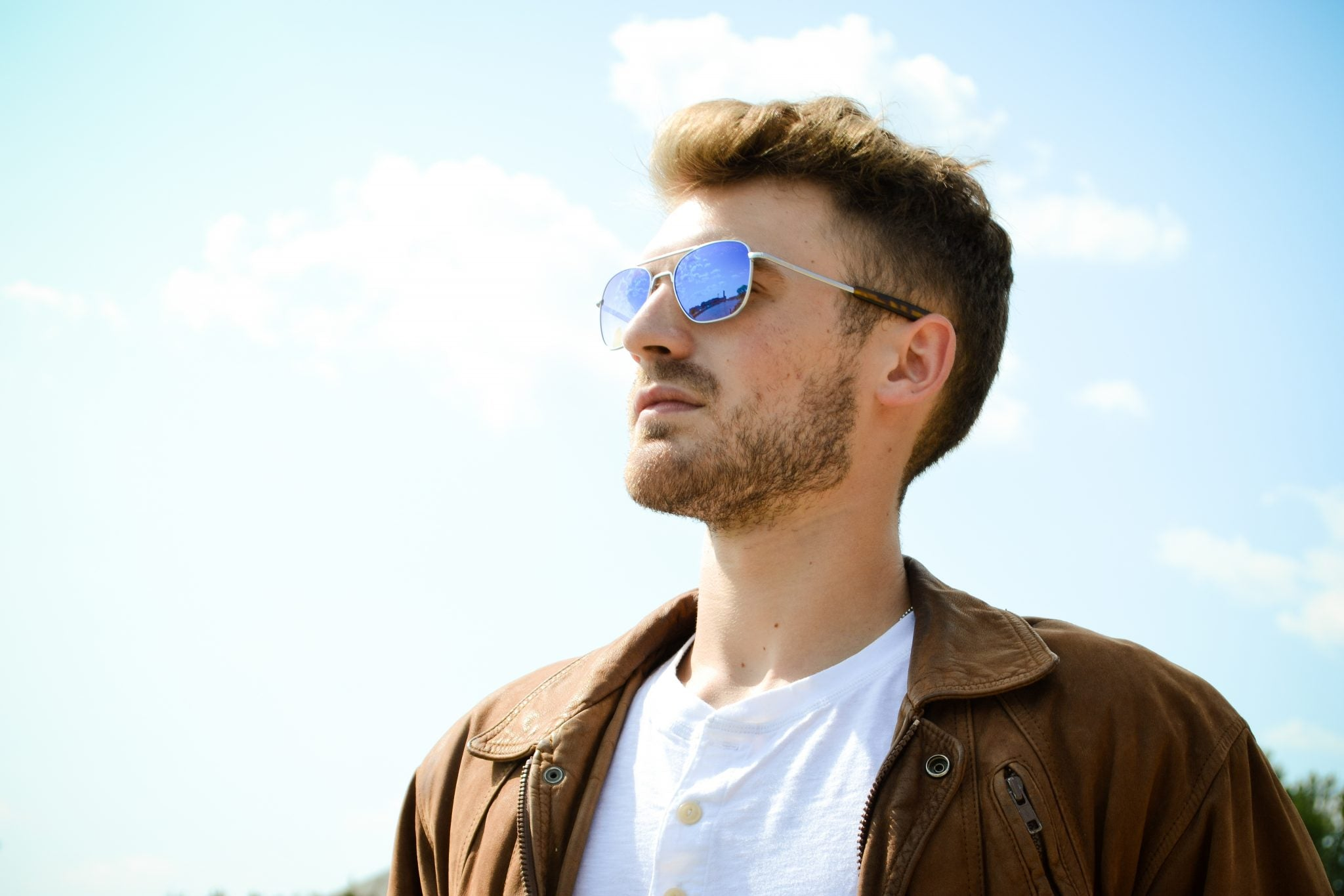 Pair your stubble facial hair with aviators for a naturally bold style. | Randolph Engineering