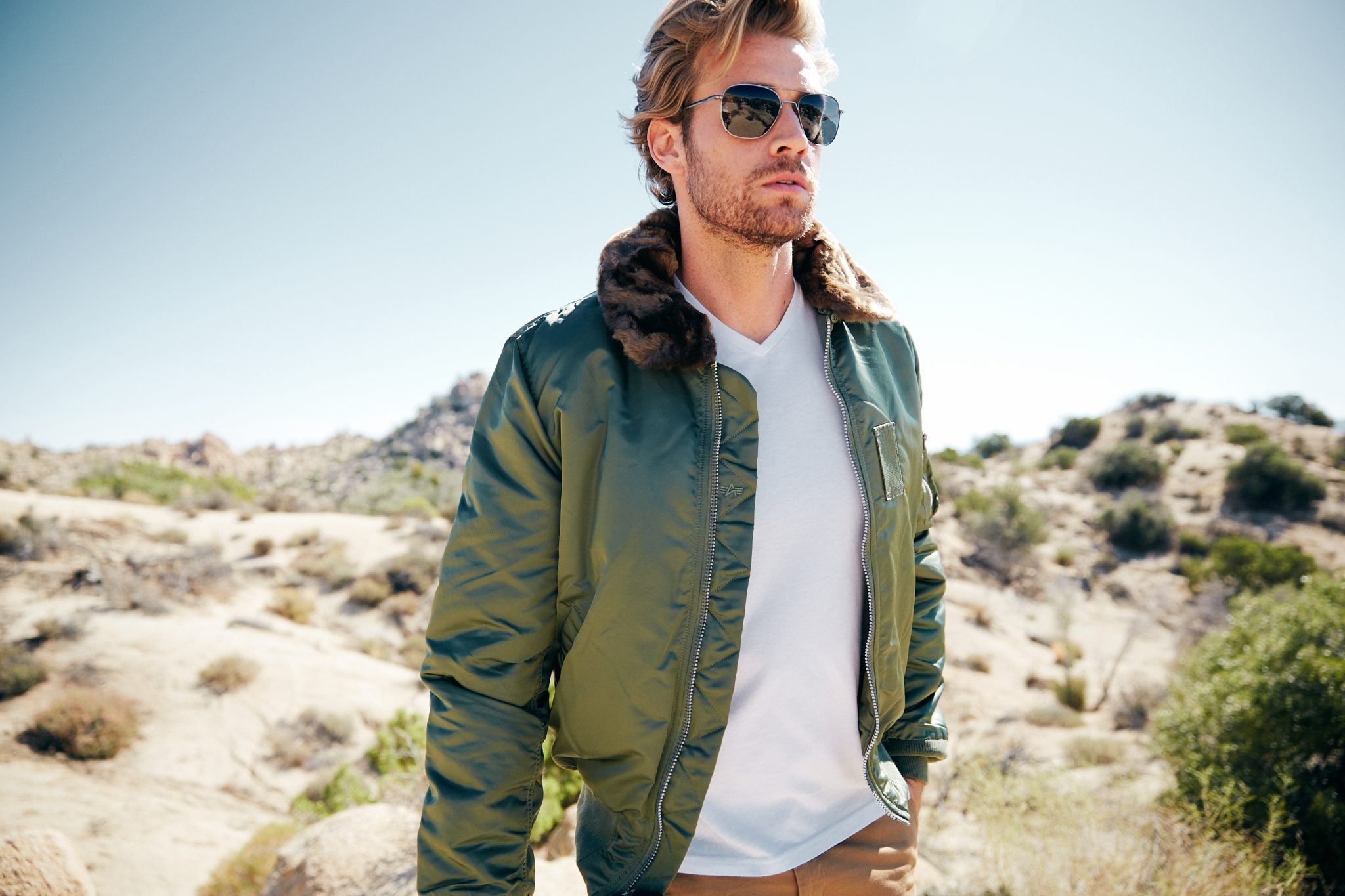 With aviators, wear jackets and solid colors with natural facial hair. | Randolph Engineering