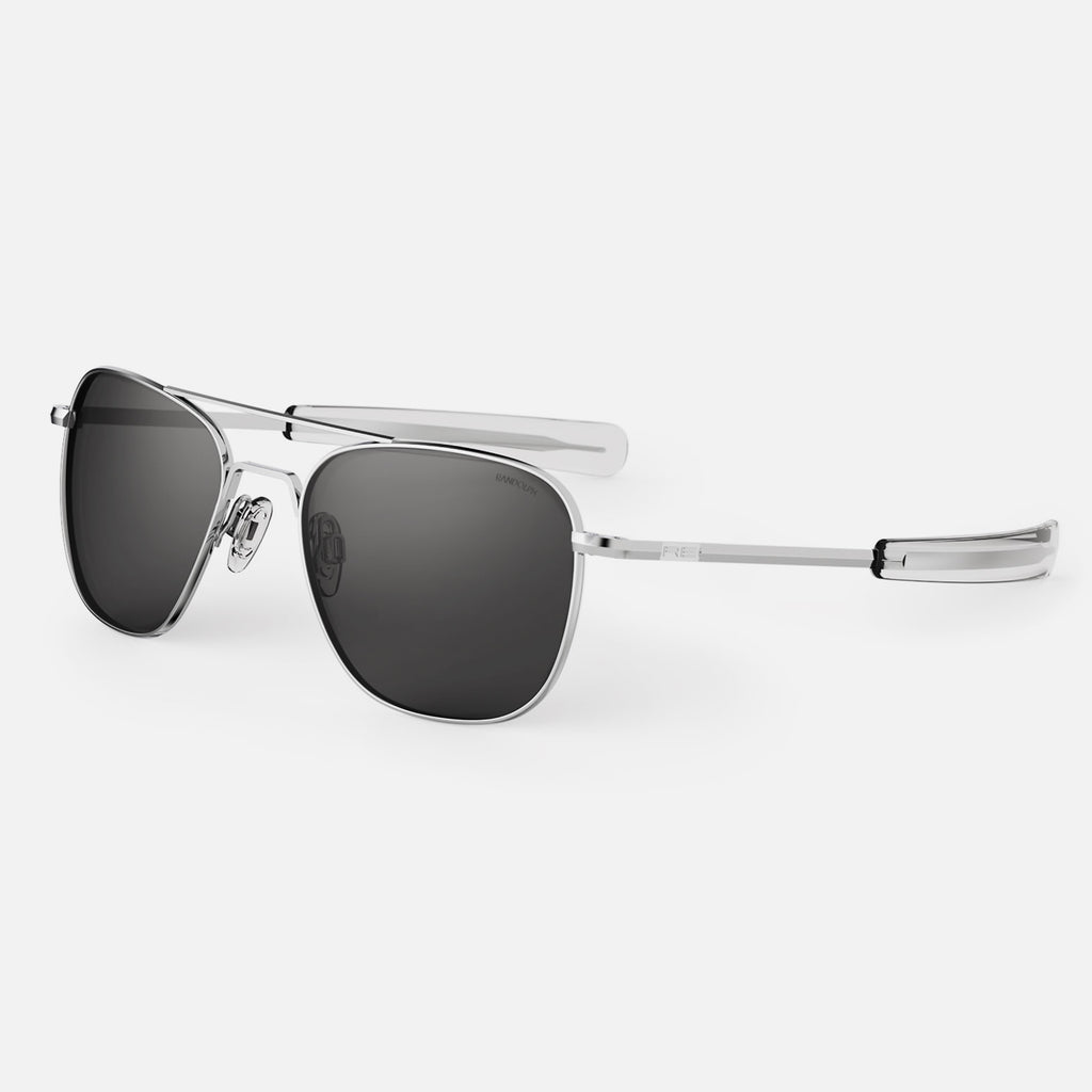 Bright Chrome & American Gray Polarized Glass Lens