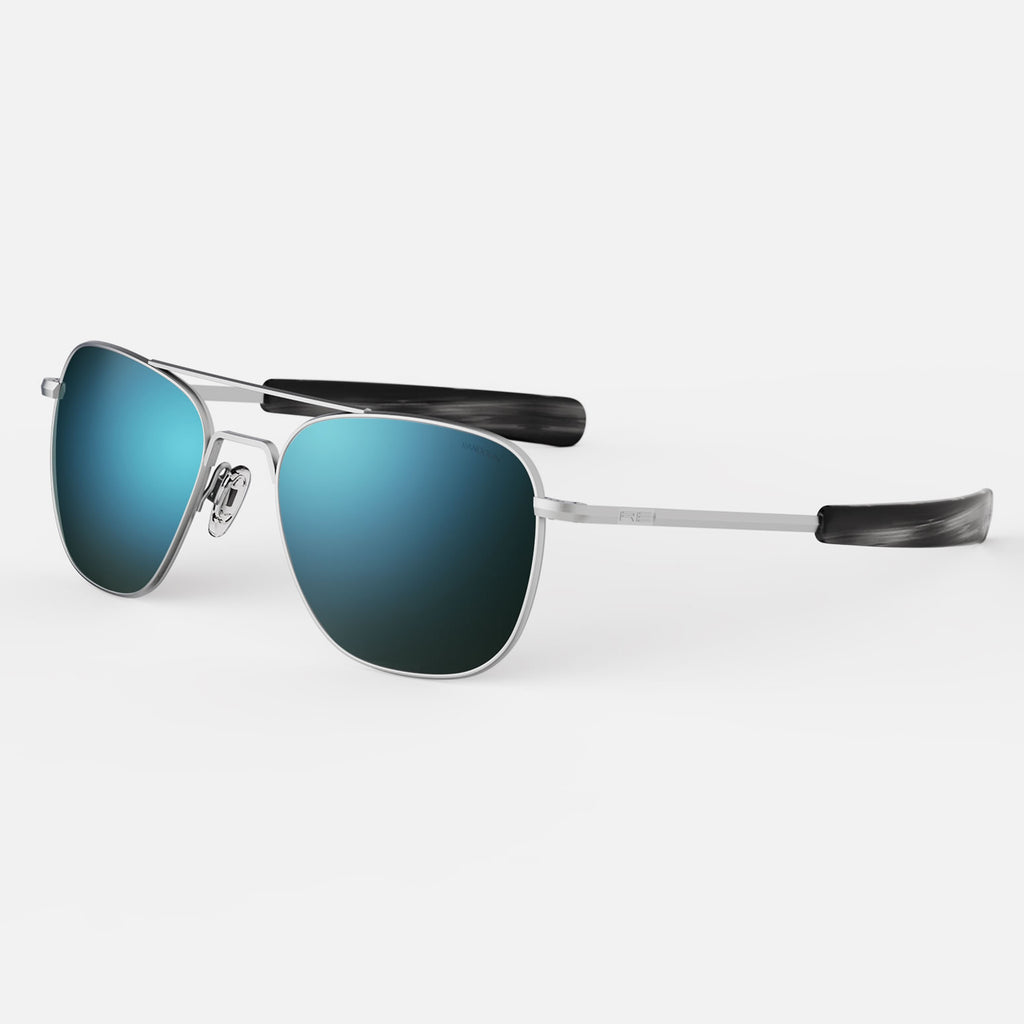 Matte Chrome & Cobalt Polarized Glass Lens