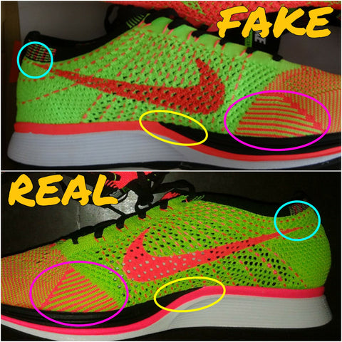 69fa8e9669bc9 Blue Area shows the nike swoosh on the fakes is angled so high it almost  touches the ankle collar. Yellow area shows the black paint job on the  midsole of ...