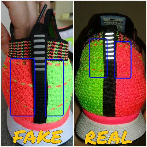 the best attitude b9a64 b0d22 Pink area shows the green lines of the flyknit on the fakes are angled at a  different directional pattern.