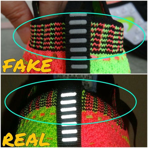 promo code c1677 9ae2d Blue areas show where the 3 opposite collar flyknit lines are totally  different on the fakes.