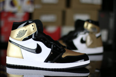 Jordan 1 Retro High NRG Patent Gold Toe - KicksOnABudget
