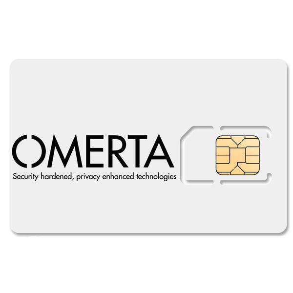 Omerta Encrypted SIM Card with custom number & mobile data