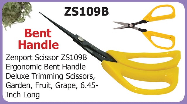 Zenport Scissor ZS109B Ergonomic Bent Handle Deluxe Trimming Scissors, Garden, Fruit, Grape, 6.5-Inch Long - AllUNeedGardenSupply