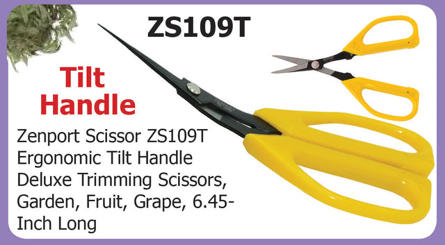 Zenport Scissors ZS109T Ergonomic Tilt Handle Deluxe Trimming Scissors, Garden, Fruit, Grape, 6.5-Inch Long - AllUNeedGardenSupply
