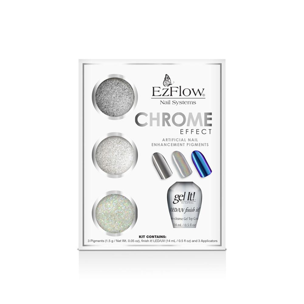 EzFlow Chrome Effect Artificial Nail Enhancement Pigment Kit