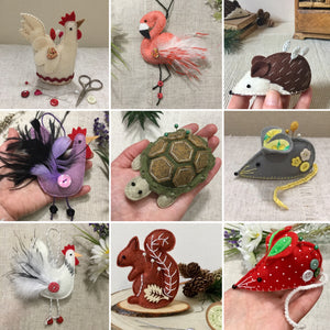 Hand sewn pincushions and animal decorations