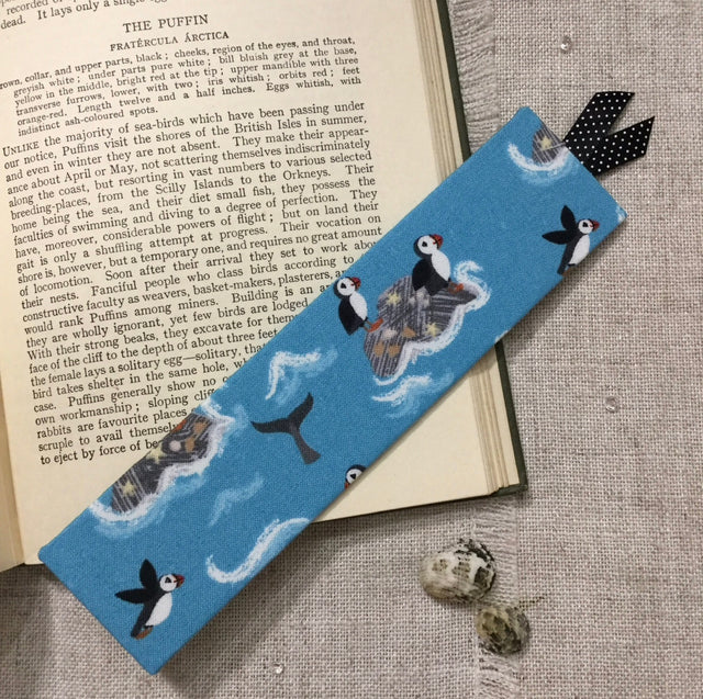 Puffin fabric bookmark