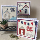 Beach Hut & Bunting Handmade Card - Little Bun Designs UK