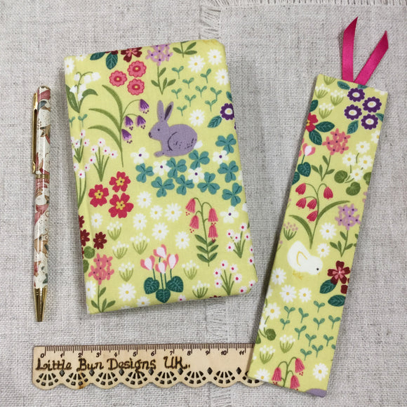 Bunny Fabric A6 Notebook / Address Book / Bookmark