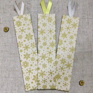 Festive Gilded Bookmarks / Handmade Fabric Bookmarks - Little Bun Designs UK