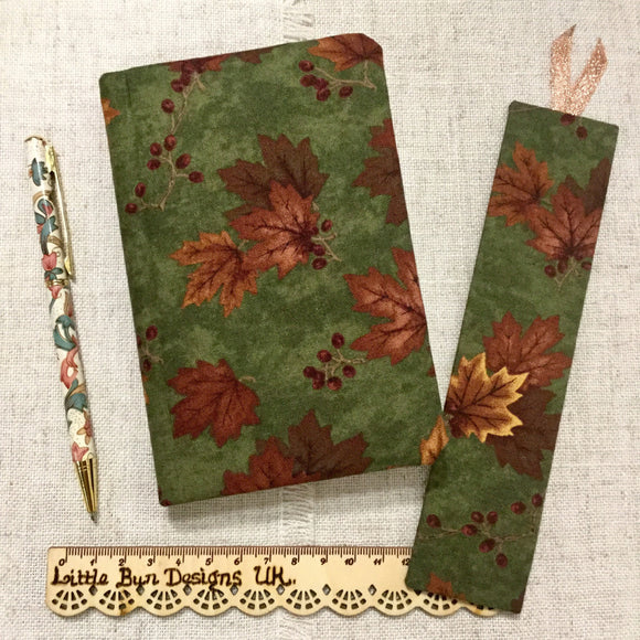 A6 Maple Leaf Fabric Notebook - Little Bun Designs UK