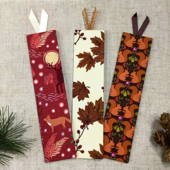 Woodland Bookmarks / Handmade Fabric Bookmark