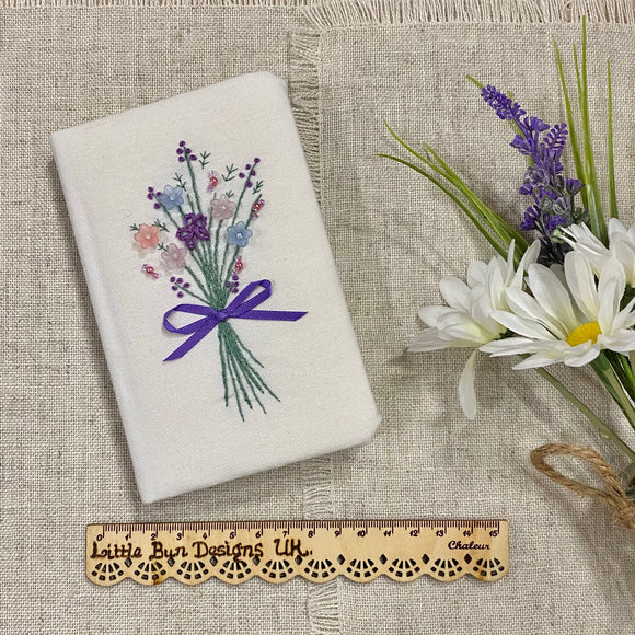 Hand Embroidered Floral Bouquet Notebook - Little Bun Designs UK