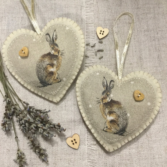 Lavender Sachet / Woodland Heart Hanging / Hare Gifts / Lavender Heart Decoration - Little Bun Designs UK