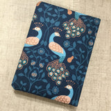 Peacock notebook / A6 fabric notebook / address book / bookmark - Little Bun Designs UK