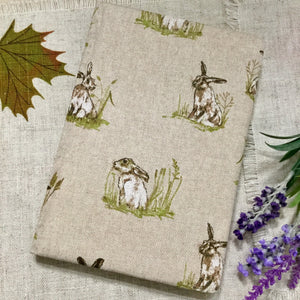 A5 Hare Notebook / Hare Gifts / Fabric Notebook - Little Bun Designs UK