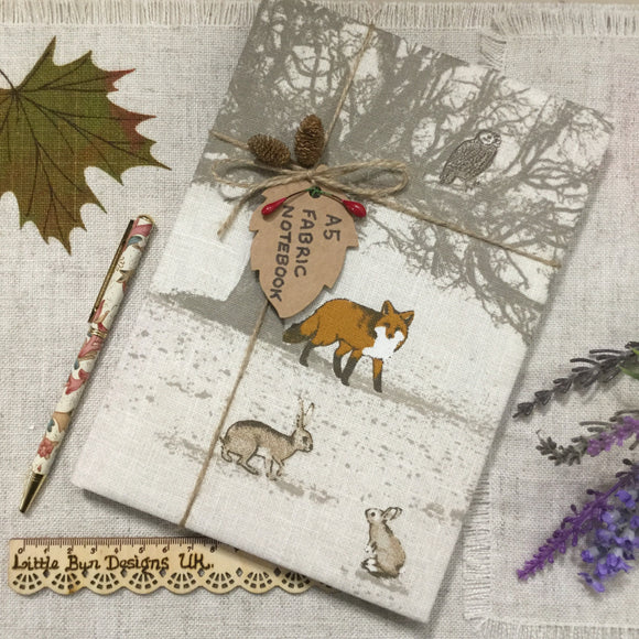 A5 Fox notebook / fabric covered notebook - Little Bun Designs UK