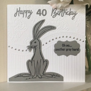 40th Birthday Card / Hare Card /Personalised Cards - Little Bun Designs UK