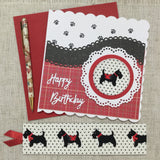 Scotty Dog Birthday Card / Fabric Bookmark - Little Bun Designs UK