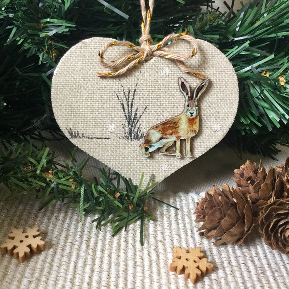 Rustic Hare Decorations / Wooden Hearts - Little Bun Designs UK