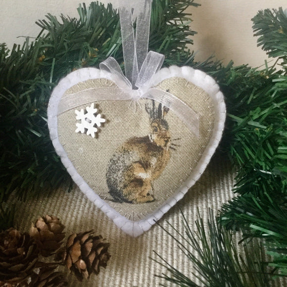 Scented Christmas Decoration / Snow Hare Heart - Little Bun Designs UK