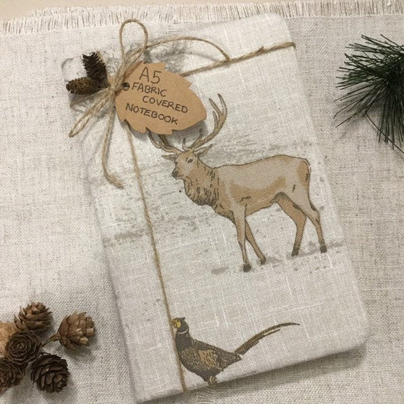 A5 stag notebook / fabric covered notebook - Little Bun Designs UK