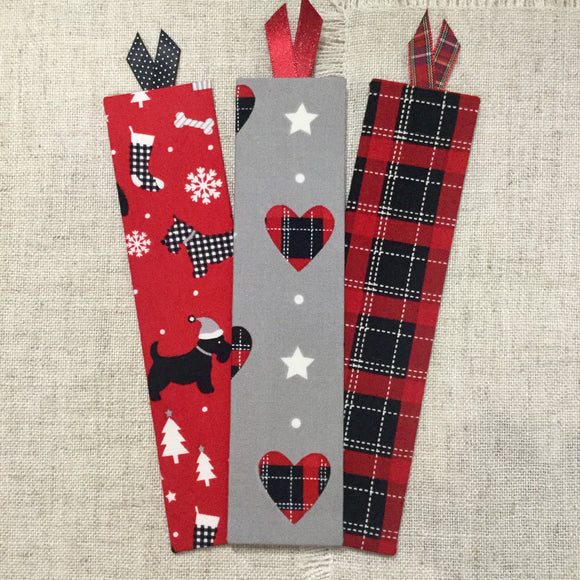 Tartan Bookmarks / Scotty Dog Bookmarks / Festive Bookmarks - Little Bun Designs UK