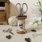 Cotton Reel Scissor Holder / Rustic Heart Design - Little Bun Designs UK
