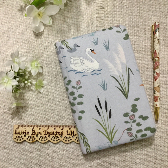 Swan Notebook / Heron Notebook / A6 Fabric Notebook - Little Bun Designs UK