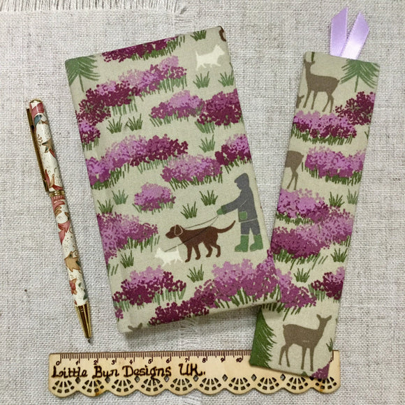Fabric Covered A6 Notebook / Summer Forest Notebook / Countryside Address Book - Little Bun Designs UK