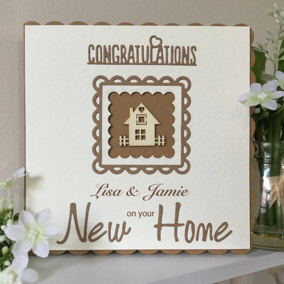 Handmade New Home Card / Personalised - Little Bun Designs UK
