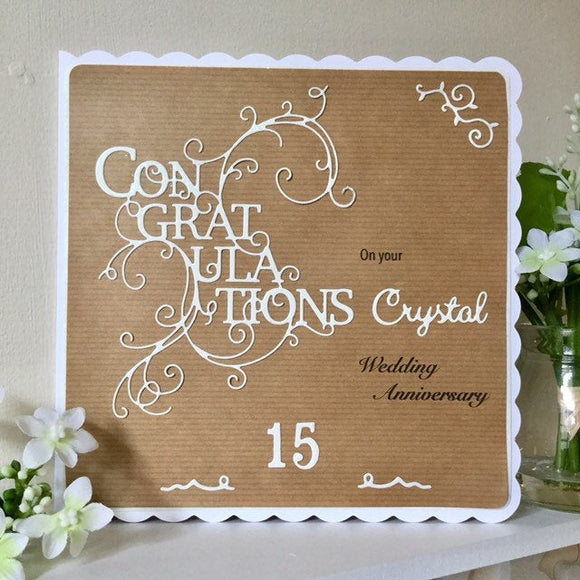 Personalised Crystal Wedding Anniversary Card - Little Bun Designs UK