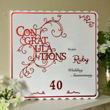 Personalised Ruby Wedding Anniversary Card - Little Bun Designs UK