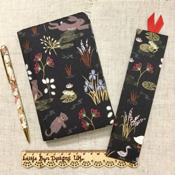 A6 Animal Notebook / Address Book / Fabric Bookmarks / Water Meadow - Little Bun Designs UK