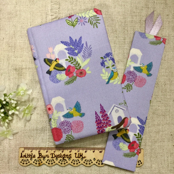 Garden birds notebook / Fabric covered notebook / A6 notebook  / address book - Little Bun Designs UK