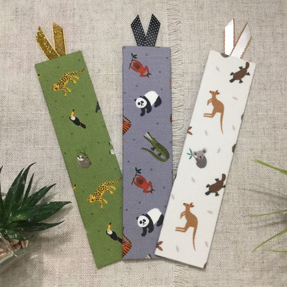 World Animal Bookmarks / Handmade Fabric Bookmarks - Little Bun Designs UK