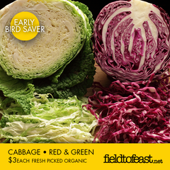organic cabbage $3 each