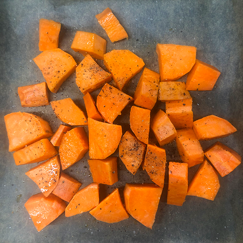 Sweet potato ready to roast