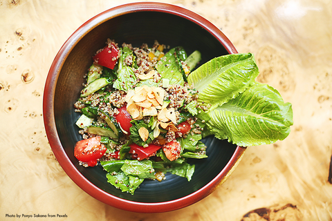 Vibrant salad with cos lettuce
