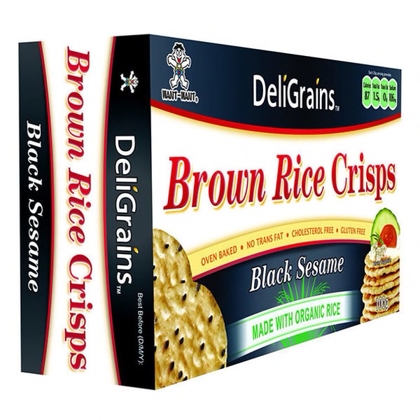 Deligrains Brown Rice Crisps Black Sesame : 100g : Gluten Free